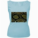 Snake Print Big	 Women s Baby Blue Tank Top
