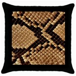 Snake Print Big	 Throw Pillow Case (Black)