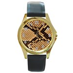 Snake Print Big	 Round Gold Metal Watch