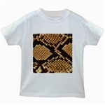 Snake Print Big	 Kids White T-Shirt