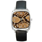 Snake Print Big	 Square Metal Watch
