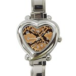 Snake Print Big	 Heart Italian Charm Watch