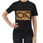 Snake Print Big	 Women s Black T-Shirt (Two Sides)