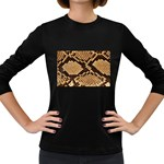 Snake Print Big	 Women s Long Sleeve Dark T-Shirt