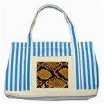 Snake Print Big	 Striped Blue Tote Bag