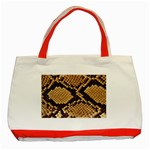 Snake Print Big	 Classic Tote Bag (Red)