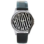 Zebra Print	 Round Metal Watch