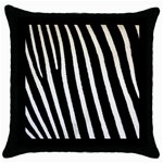 Zebra Print	 Throw Pillow Case (Black)