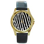 Zebra Print	 Round Gold Metal Watch
