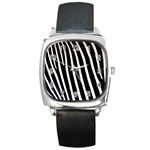 Zebra Print	 Square Metal Watch