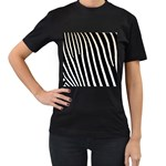 Zebra Print	 Women s Black T-Shirt (Two Sides)