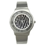 Zebra Print	 Stainless Steel Watch