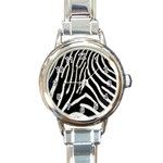 Zebra Print Big	 Round Italian Charm Watch