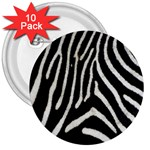 Zebra Print Big	 3  Button (10 pack)