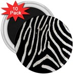 Zebra Print Big	 3  Magnet (10 pack)