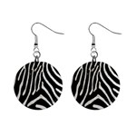 Zebra Print Big	 1  Button Earrings