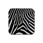 Zebra Print Big	 Rubber Square Coaster (4 pack)