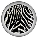 Zebra Print Big	 Wall Clock (Silver)