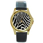 Zebra Print Big	 Round Gold Metal Watch