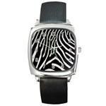 Zebra Print Big	 Square Metal Watch