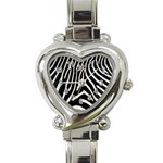 Zebra Print Big	 Heart Italian Charm Watch