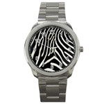 Zebra Print Big	 Sport Metal Watch