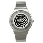 Zebra Print Big	 Stainless Steel Watch