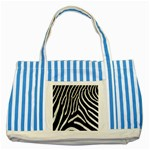 Zebra Print Big	 Striped Blue Tote Bag