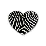 Zebra Print Big	 Rubber Coaster (Heart)