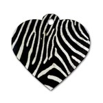Zebra Print Big	 Dog Tag Heart (One Side)
