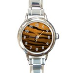 Tiger Print Dark	 Round Italian Charm Watch