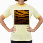 Tiger Print Dark	 Women s Fitted Ringer T-Shirt