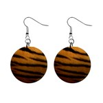 Tiger Print Dark	 1  Button Earrings
