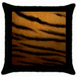 Tiger Print Dark	 Throw Pillow Case (Black)
