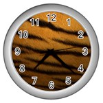 Tiger Print Dark	 Wall Clock (Silver)
