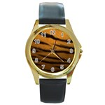 Tiger Print Dark	 Round Gold Metal Watch