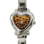Tiger Print Dark	 Heart Italian Charm Watch