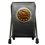 Tiger Print Dark	 Pen Holder Desk Clock