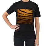 Tiger Print Dark	 Women s Black T-Shirt (Two Sides)