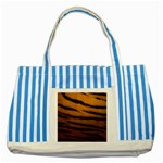 Tiger Print Dark	 Striped Blue Tote Bag