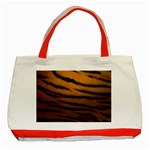 Tiger Print Dark	 Classic Tote Bag (Red)