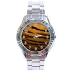 Tiger Print Dark	 Stainless Steel Analogue Men's Watch
