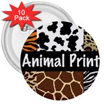 Animal Print	 3  Button (10 pack)