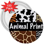Animal Print	 3  Button (100 pack)