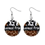 Animal Print	 1  Button Earrings