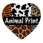 Animal Print	 Heart Ornament (Two Sides)