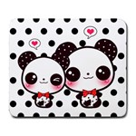Two kawaii pandas Large Mousepad